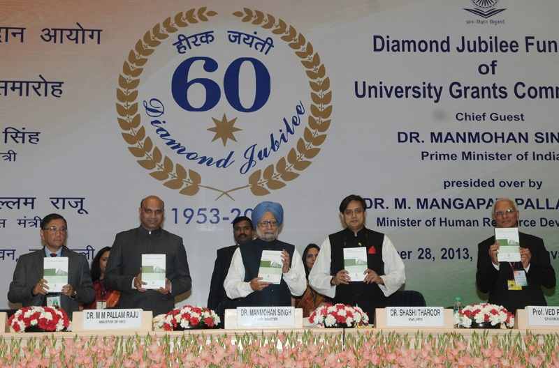 The Prime Minister, Dr. Manmohan Singh releasing the book Sixty Years of the University Grants Commission, at the Diamond Jubilee celebrations of the University Grants Commission, in New Delhi on December 28, 2013. The Union Minister for Human Resource Development, Dr. M.M. Pallam Raju, the Minister of State for Human Resource Development, Dr. Shashi Tharoor, the Secretary (Higher Education), Ministry of Human Resource Development, Shri Ashok Thakur and the Chairman, UGC, Prof. Ved Parkas are also seen.