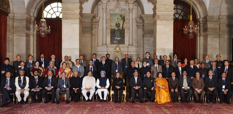 The President, Shri Pranab Mukherjee and the Prime Minister, Dr. Manmohan Singh at the Conference of Vice Chancellors of Central Universities, at Rashtrapati Bhawan, in New Delhi on February 06, 2014. The Union Minister for Human Resource Development, Dr. M.M. Pallam Raju and the Ministers of State for Human Resource Development, Shri Jitin Prasada and Dr. Shashi Tharoor are also seen.