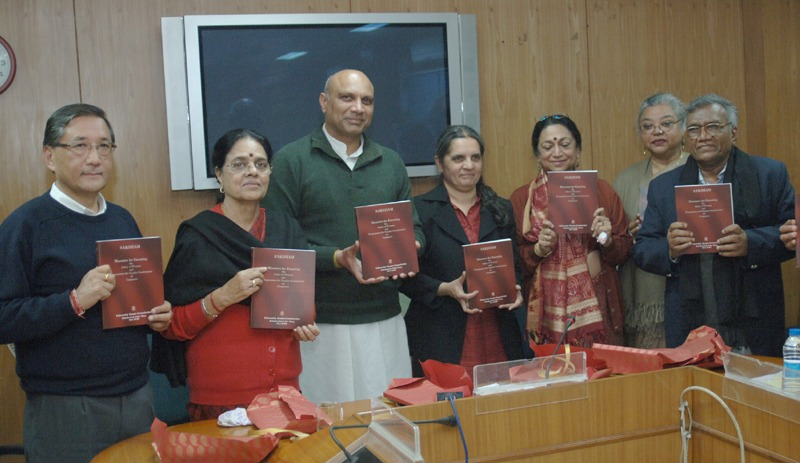 The Union Minister for Human Resource Development, Dr. M.M. Pallam Raju releasing the book 'Saksham' based on safety of women and gender sensitization on campuses, at a function, in New Delhi on February 12, 2014. The Union Minister for Housing & Urban Poverty Alleviation, Dr. Girija Vyas, the Secretary, Department of Higher Education, Shri Ashok Thakur and other dignitaries are also seen.
