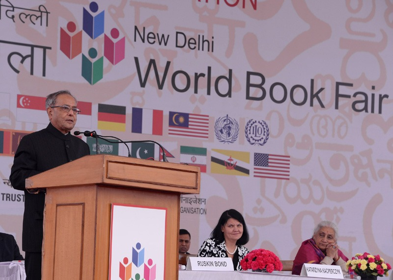 The President, Shri Pranab Mukherjee addressing at the inauguration of the New Delhi World Book Fair-2014, at Pragati Maidan, in New Delhi on February 15, 2014. The Union Minister for Culture, Smt. Chandresh Kumari Katoch is also seen.
