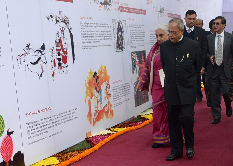 The President, Shri Pranab Mukherjee going around at New Delhi World Book Fair-2014, at Pragati Maidan, in New Delhi on February 15, 2014. The Union Minister for Culture, Smt. Chandresh Kumari Katoch is also seen.