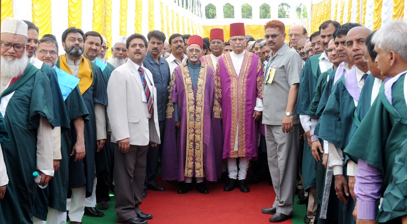 The Vice President, Shri Mohd. Hamid Ansari with the faculty members at the 61st Convocation of Aligarh Muslim University, in Aligarh, Uttar Pradesh on March 29, 2014. The Governor of Uttar Pradesh, Shri B.L. Joshi is also seen.