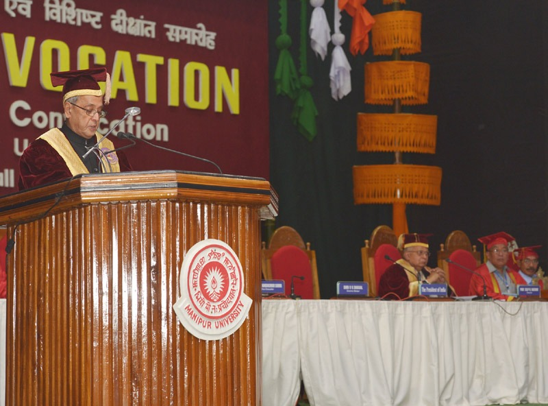 The President, Shri Pranab Mukherjee addressing on the occasion of the 14th Convocation of Manipur University, at Canchipur, in Imphal, Manipur on April 29, 2014.
