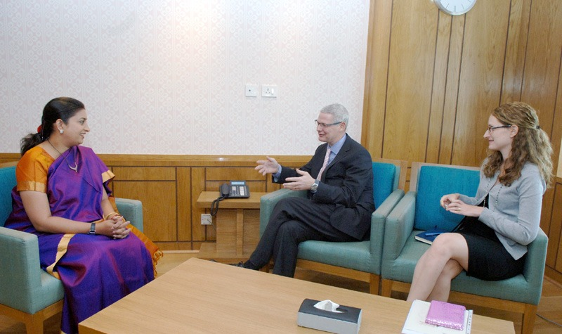 The Ambassador of Israel in India, Mr. Alon Ushpiz called on the Union Minister for Human Resource Development, Smt. Smriti Zubin Irani, in New Delhi on May 29, 2014.