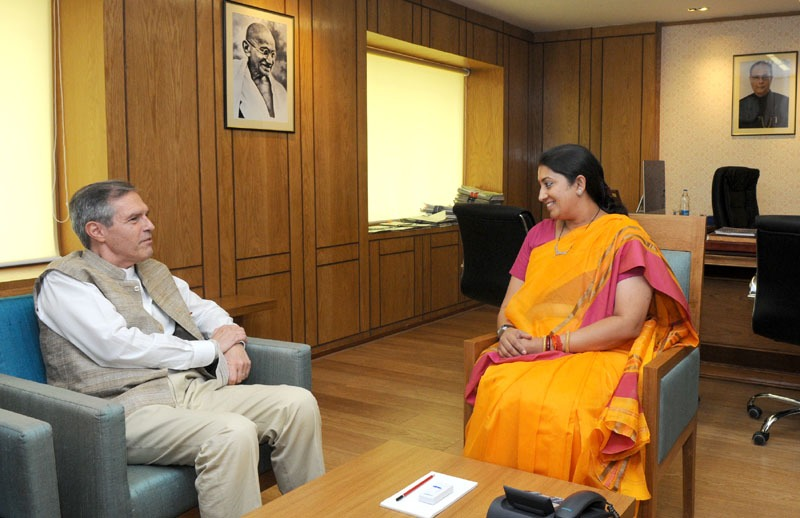 The Ambassador of Germany in India, Mr. Michael Steiner calls on the Union Minister for Human Resource Development, Smt. Smriti Zubin Irani, in New Delhi on June 11, 2014.