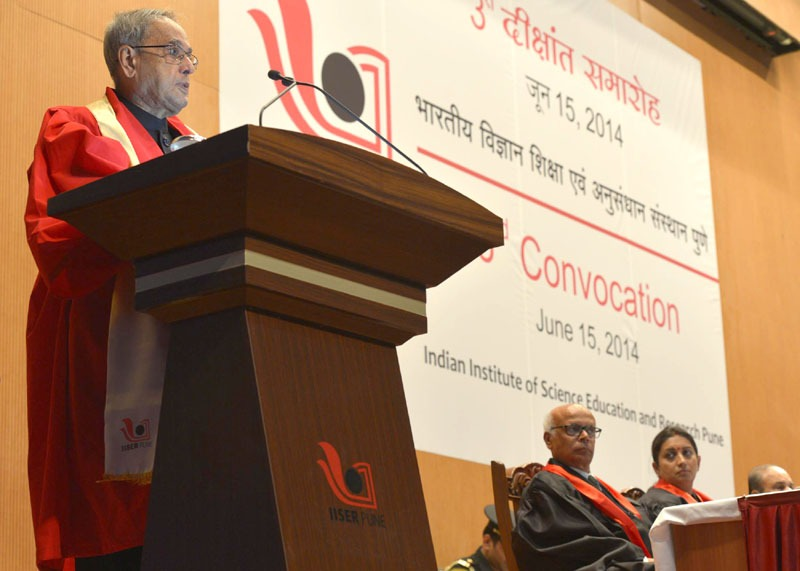 The President, Shri Pranab Mukherjee addressing at the Third Convocation of Indian Institute of Science Education & Research, in Pune on June 15, 2014. The Union Minister for Human Resource Development, Smt. Smriti Zubin Irani is also seen.