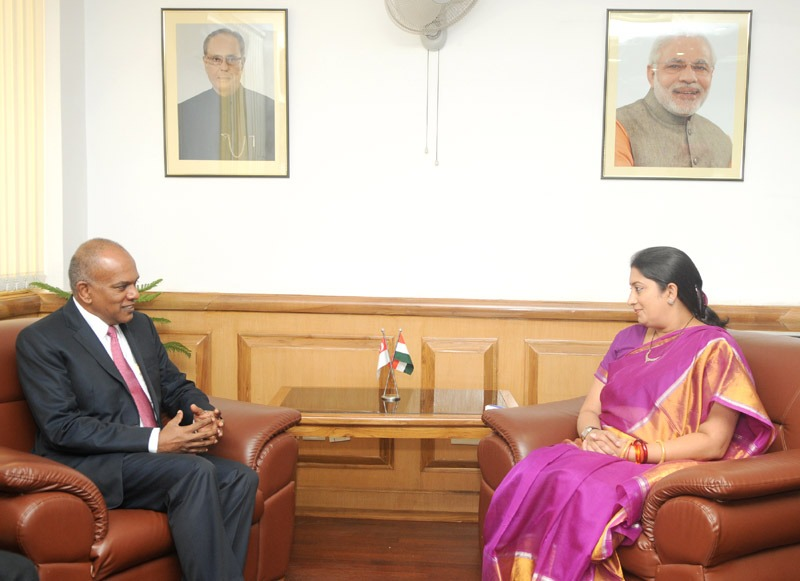 The Minister for Foreign Affairs & Minister for Law of the Republic of Singapore, Mr. K. Shanmugam calling on the Union Minister for Human Resource Development, Smt. Smriti Zubin Irani, in New Delhi on July 02, 2014.