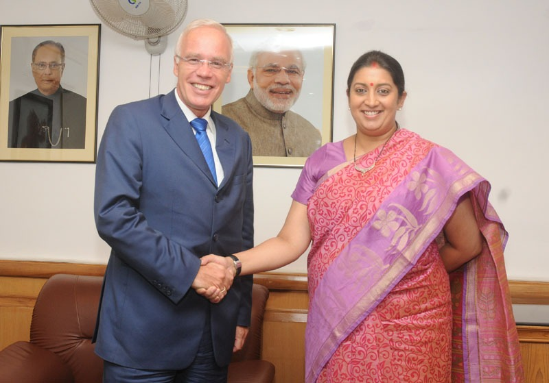 The Ambassador of Norway to India, Mr. Eivind S. Homme calling on the Union Minister for Human Resource Development, Smt. Smriti Irani, in New Delhi on July 22, 2014.