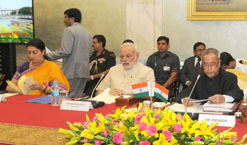 The President, Shri Pranab Mukherjee attending the Conference of Chairmen of Boards of Governors and the Directors of Indian Institutes of Technology, in New Delhi on August 22, 2014. The Prime Minister, Shri Narendra Modi and the Union Minister for Human Resource Development, Smt. Smriti Irani are also seen.