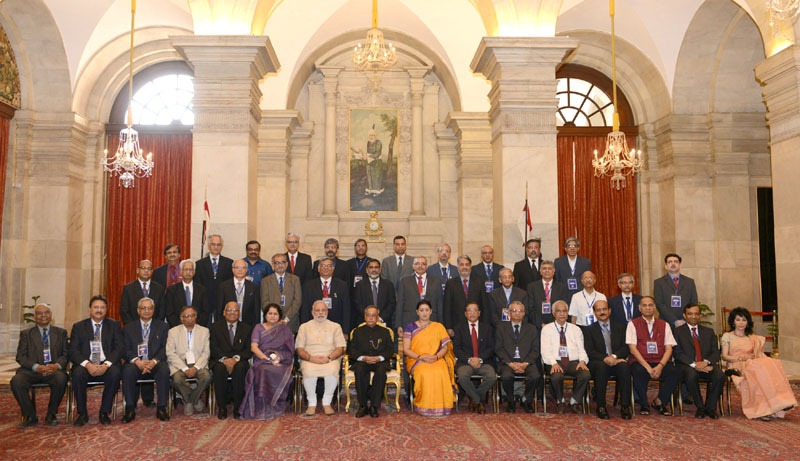 The President, Shri Pranab Mukherjee during the Conference of Chairmen of Boards of Governors and the Directors of Indian Institutes of Technology, in New Delhi on August 22, 2014. The Prime Minister, Shri Narendra Modi, the Union Minister for Human Resource Development, Smt. Smriti Irani and other dignitaries are also seen.