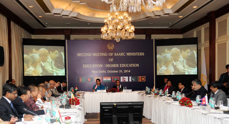 The Union Minister for Human Resource Development, Smt. Smriti Irani addressing the 2nd meeting of SAARC Ministers of Education/Higher Education, in New Delhi on October 31, 2014. The Secretary General, SAARC, Shri Arjun Bahadur Thapa is also seen.