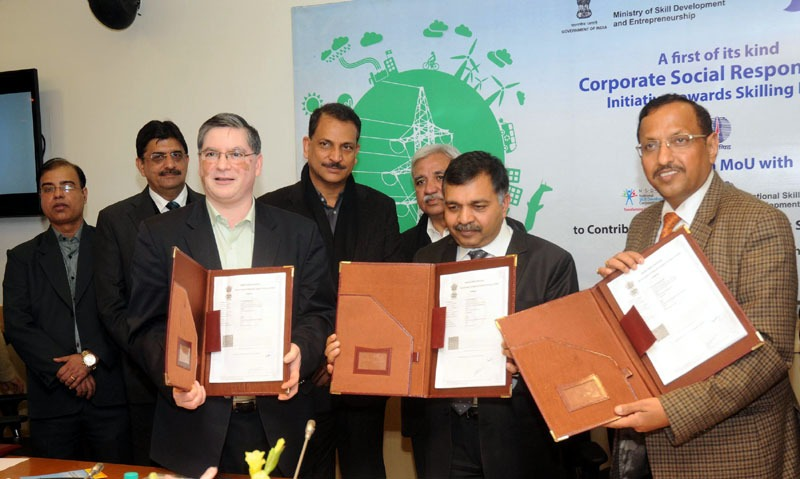 The Minister of State for Skill Development & Entrepreneurship (Independent Charge) and Parliamentary Affairs, Shri Rajiv Pratap Rudy witnessing the signing of the Tripartite Agreement between the National Skill Development fund (NSDF), National Skill Development Corporation (NSDC) and the Power Grid Corporation of India Limited (PGCIL), in New Delhi on January 14, 2015.