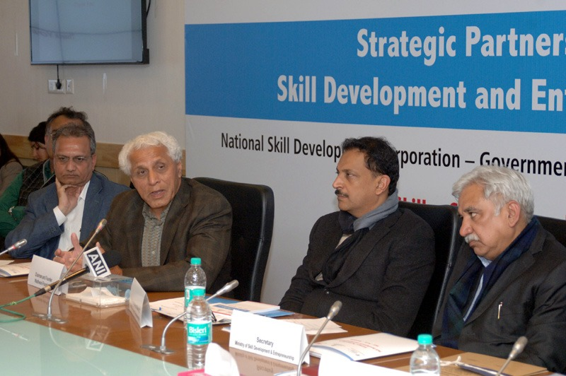 The Minister of State for Skill Development & Entrepreneurship (Independent Charge) and Parliamentary Affairs, Shri Rajiv Pratap Rudy presiding over a Joint Workshop on Skill Development and Entrepreneurship, in New Delhi on January 30, 2015. The Secretary, Ministry of Skill Development and Entrepreneurship, Shri Sunil Arora and other dignitaries are also seen.