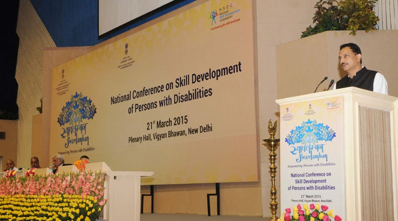The Minister of State for Skill Development & Entrepreneurship (Independent Charge) and Parliamentary Affairs, Shri Rajiv Pratap Rudy addressing after launching the National Action Plan for the Skill Training of Persons with Disabilities (PwDs), at the National Conference on Skill Development of Persons with Disabilities, in New Delhi on March 21, 2015.