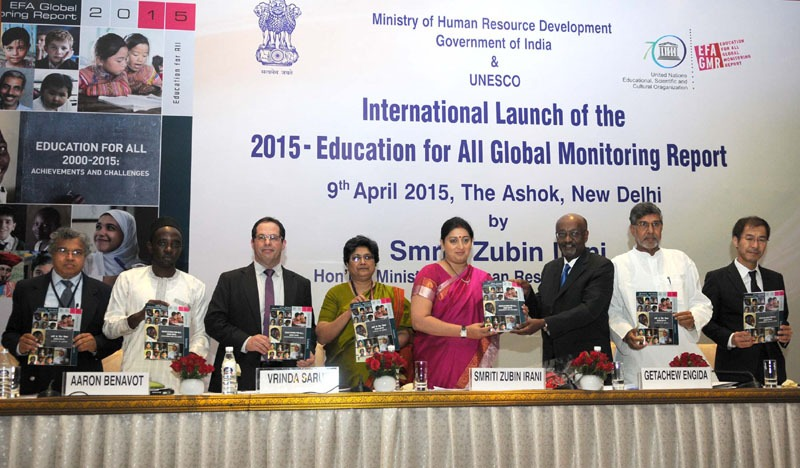 The Union Minister for Human Resource Development, Smt. Smriti Irani launching the 2015-Education for All Global Monitoring Report (GMR), in New Delhi on April 09, 2015. The Secretary, Department of School Education & Literacy, Ministry of Human Resource Development, Smt. Vrinda Sarup and other dignitaries are also seen.