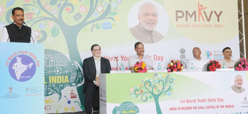 The Minister of State for Skill Development & Entrepreneurship (Independent Charge) and Parliamentary Affairs, Shri Rajiv Pratap Rudy addressing at the flagging-off ceremony of the 'Skill Vans', on the occasion of launch of Skill India Campaign, in New Delhi on July 15, 2015.