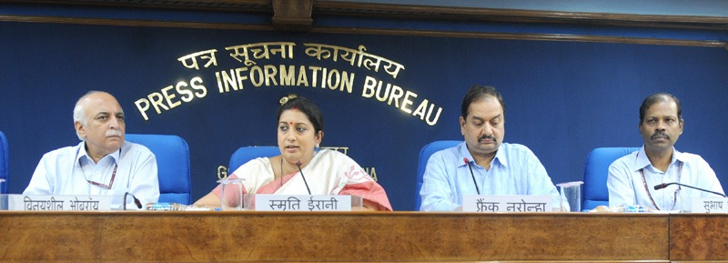 The Union Minister for Human Resource Development, Smt. Smriti Irani holding a press conference on the 63rd meeting of the Central Advisory Board Of Education (CABE), in New Delhi on August 19, 2015. The Secretary, Department of Higher Education and Member Secretary, CABE, Shri V.S. Oberoi, the Secretary, Department of School Education and Literacy, Dr. Subash C. Khuntia and the Director General (M&C), Press Information Bureau, Shri A.P. Frank Noronha are also seen.