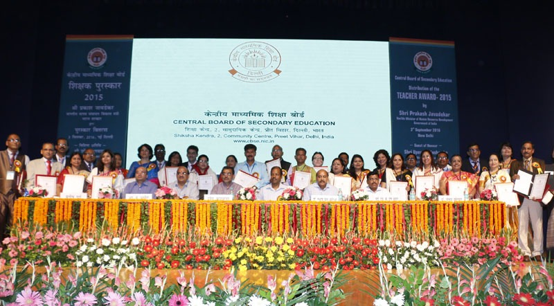The Minister of State for Human Resource Development, Shri Upendra Kushwaha with the Awardee Teachers, on the occasion of the CBSE Teachers' award 2015, in New Delhi on September 03, 2016. 	The Secretary, School Education and Literacy, Dr. Subash Chandra Khuntia and other dignitaries are also seen.