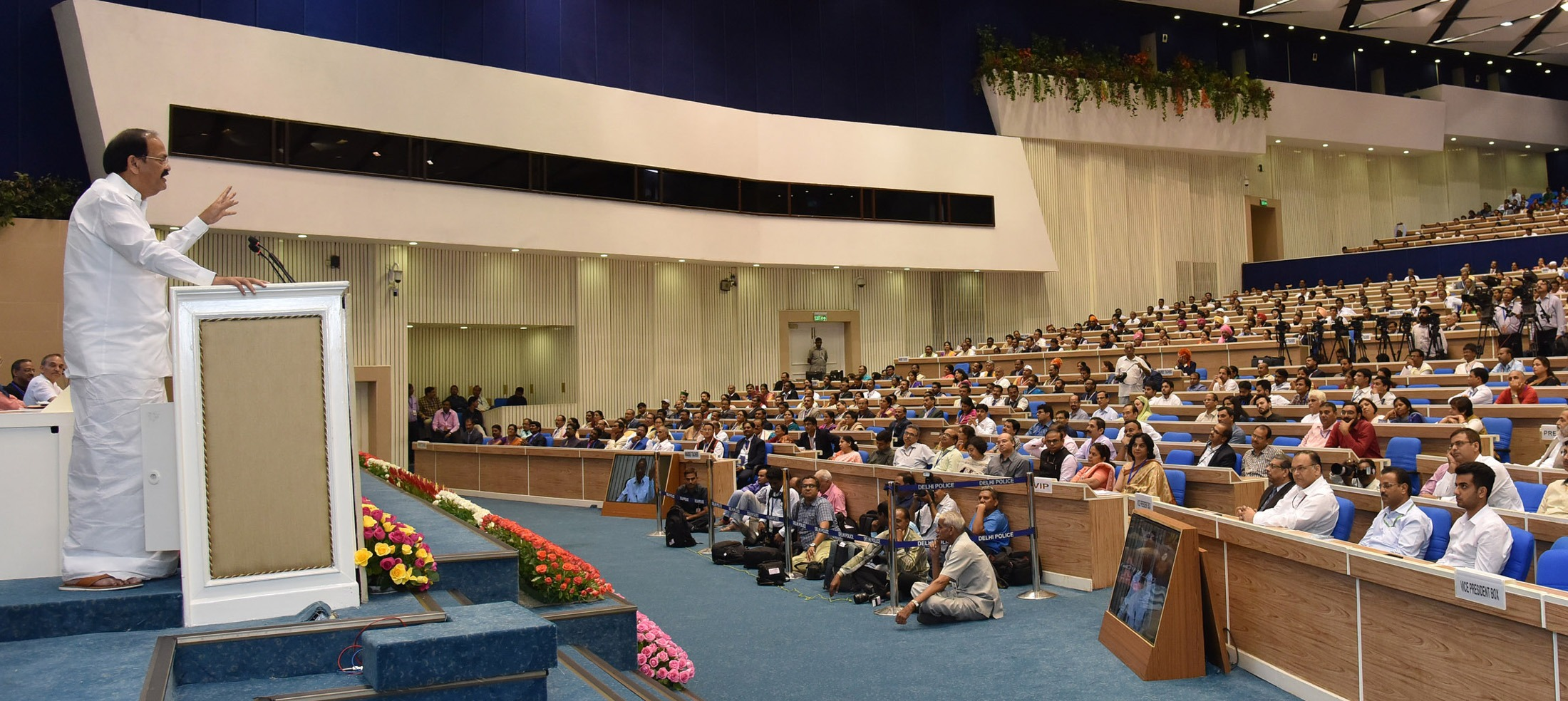 The Vice President, Shri M. Venkaiah Naidu addressing the gathering after presenting the National Award to Teachers – 2016, on the occasion of Teachers' Day, in New Delhi on September 05, 2017.