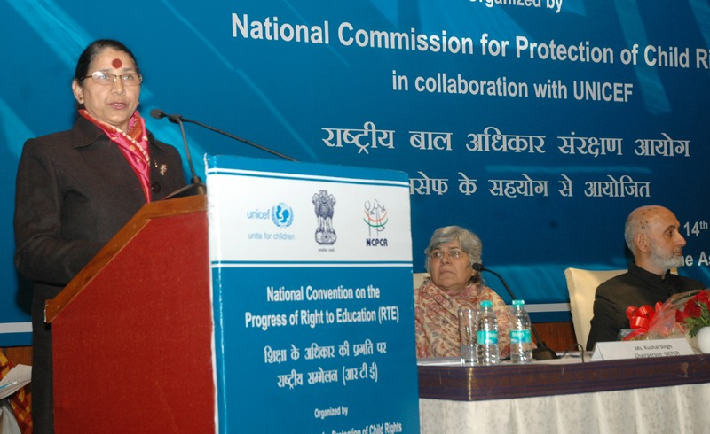 The Minister of State (Independent Charge) for Women and Child Development, Smt. Krishna Tirath addressing the National Convention on the progress of Right to Education (RTE), in New Delhi on January 14, 2014.