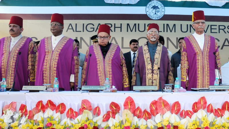 The Vice President, Shri Mohd. Hamid Ansari at the 61st Convocation of Aligarh Muslim University, in Aligarh, Uttar Pradesh on March 29, 2014. The Governor of Uttar Pradesh, Shri B.L. Joshi is also seen.
