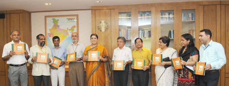 The Union Minister for Human Resource Development, Smt. Smriti Zubin Irani releasing the flash statistics for Elementary Education in India for the year 2013-14, in New Delhi on June 18, 2014. The Secretary (SE&L), Shri R. Bhattacharya, the Vice Chancellor of NUEPA, Prof. R. Govinda and the Additional Secretary (EE), Smt. Vrinda Sarup are also seen.