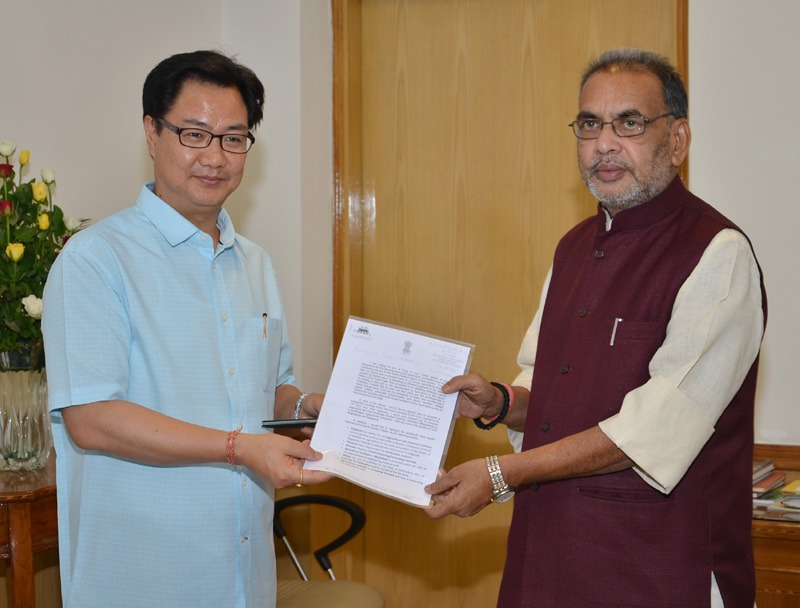 The Minister of State for Home Affairs, Shri Kiren Rijiju calls on the Union Minister for Agriculture, Shri Radha Mohan Singh, in New Delhi on June 19, 2014.