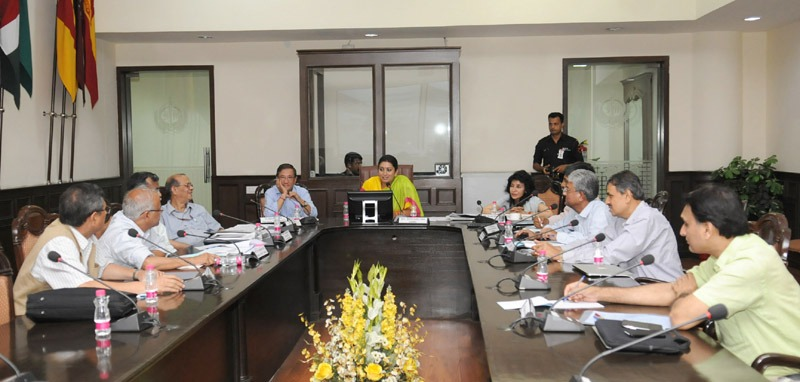 The Union Minister for Human Resource Development, Smt. Smriti Zubin Irani addressing at the meeting of the Indian Institute of Science Education and Research (IISER), in New Delhi on June 23, 2014. The Secretary, Higher Education, MHRD, Shri Ashok Thakur and the Addl. Secretary, MHRD, Smt. Amita Sharma are also seen.