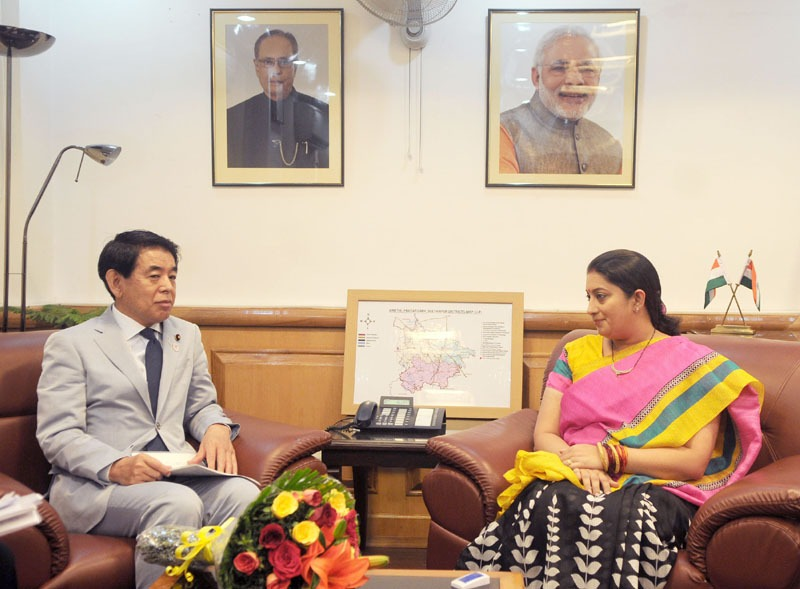 The Minister of Education, Culture, Sports, Science and Technology of Japan, Mr. Hakubun Shimomura meeting the Union Minister for Human Resource Development, Smt. Smriti Irani, in New Delhi on August 05, 2014.