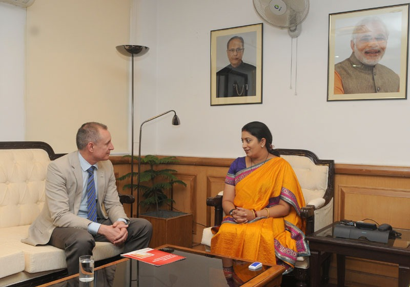 The Premier of the Australian State of South Australia, Mr. Jay Weatherill calling on the Union Minister for Human Resource Development, Smt. Smriti Irani, in New Delhi on August 22, 2014.