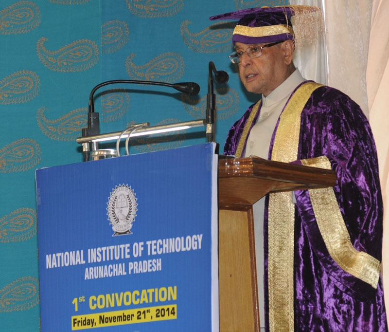 The President, Shri Pranab Mukherjee presenting addressing at the 1st Convocation of the National Institute of Technology, in Arunachal Pradesh on November 21, 2014.