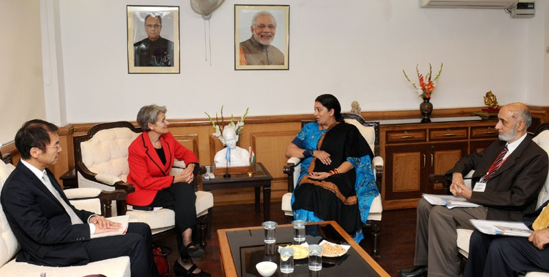 The Union Minister for Human Resource Development, Smt. Smriti Irani meeting the DG UNESCO, Ms. Irina Bokova, in New Delhi on November 24, 2014.