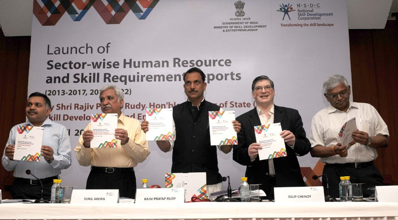 The Minister of State for Skill Development & Entrepreneurship (Independent Charge) and Parliamentary Affairs, Shri Rajiv Pratap Rudy launching the Sector-Wise Human Resource and Skill Requirement Reports (2013-2017, 2017-2022), in New Delhi on April 09, 2015. The Secretary, Ministry of Skill Development and Entrepreneurship, Shri Sunil Arora and the MD & CEO, NSDC, Shri Dilip Chenoy and other dignitaries are also seen.