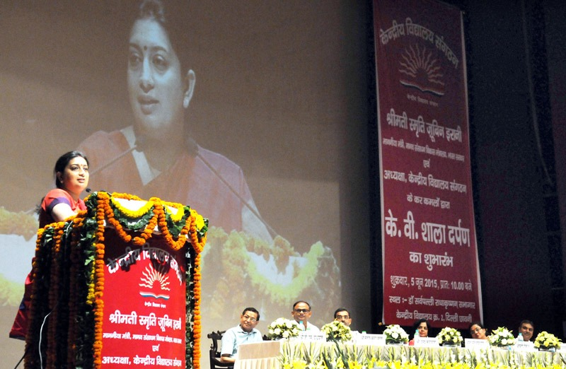 The Union Minister for Human Resource Development and Chairperson, KVS, Smt. Smriti Irani addressing at the launch of KV SHAALA DARPAN for Kendriya Vidyalaya, in New Delhi on June 05, 2015. The Minister of State for Human Resource Development, Shri Upendra Kushwaha and other dignitaries are also seen.
