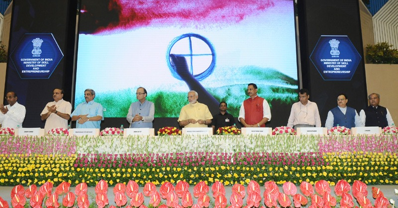 The Prime Minister, Shri Narendra Modi launching the logo of the Skill India Mission, on the occasion of the World Youth Skills Day, in New Delhi on July 15, 2015. The Union Ministers Shri Arun Jaitley, Shri Manohar Parrikar, Shri Suresh Prabhu, Shri Anant Geete, Shri J.P. Nadda, Shri Ananth Kumar, Shri Narendra Singh Tomar and Shri Rajiv Pratap Rudy are also seen.