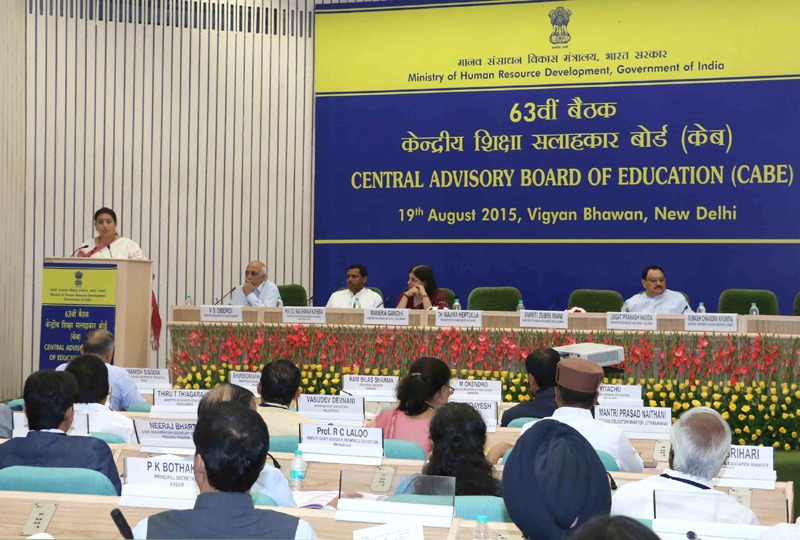 The Union Minister for Human Resource Development, Smt. Smriti Irani addressing the 63rd meeting of the Central Advisory Board Of Education (CABE), in New Delhi on August 19, 2015. The Union Minister for Health & Family Welfare, Shri J.P. Nadda, the Union Minister for Women and Child Development, Smt. Maneka Sanjay Gandhi, the Minister of State for Human Resource Development, Prof. (Dr.) Ram Shankar Katheria and the Secretary, Department of Higher Education and Member Secretary, CABE, Shri V.S. Oberoi are also seen.