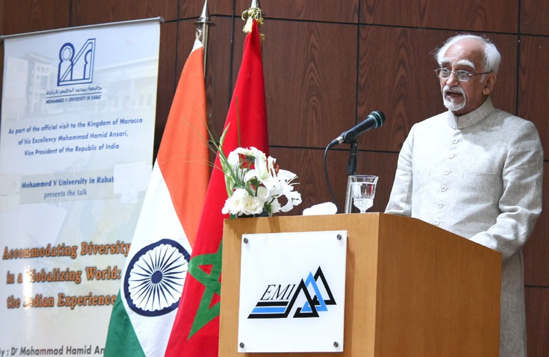 The Vice President, Shri M. Hamid Ansari addressing at the Mohammed V University, in Rabat, Morocco on June 01, 2016.
