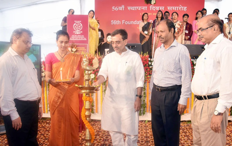 The Minister of State for Human Resource Development, Shri Upendra Kushwaha lighting the lamp at the 56th Foundation Day of NCERT, in New Delhi on September 01, 2016. 	The Secretary, School Education and Literacy, Dr. Subash Chandra Khuntia is also seen.