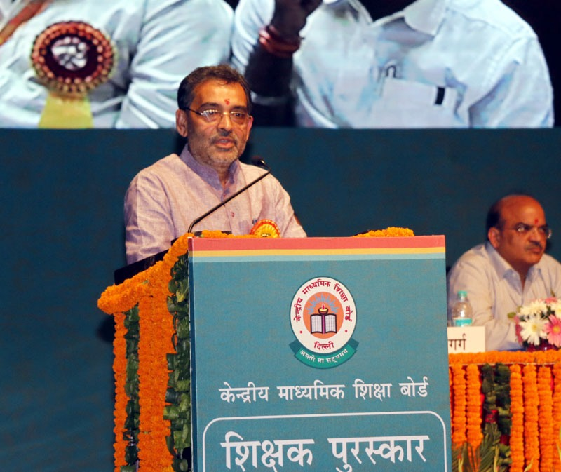 The Minister of State for Human Resource Development, Shri Upendra Kushwaha addressing a gathering, on the occasion of the CBSE Teachers' award 2015, in New Delhi on September 03, 2016.