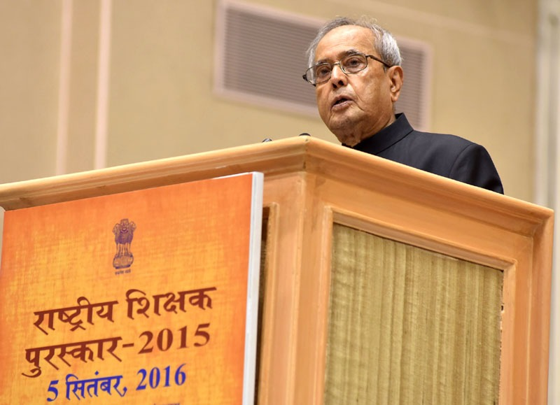 The President, Shri Pranab Mukherjee addressing at the presentation of the National Award for Teachers-2015, on the occasion of the 'Teachers Day', in New Delhi on September 05, 2016.