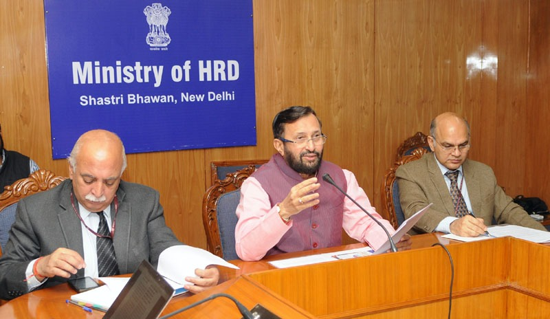 The Union Minister for Human Resource Development, Shri Prakash Javadekar addressing the all Secretaries of States (HE) and Vice-Chancellors of all universities through video conference, in New Delhi on December 08, 2016. The Secretary, Department of Higher Education, Shri V.S. Oberoi is also seen.